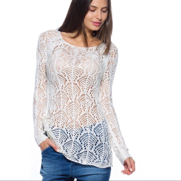 Tops Last One Ivory White Crochet Long Sleeve Top Poshmark